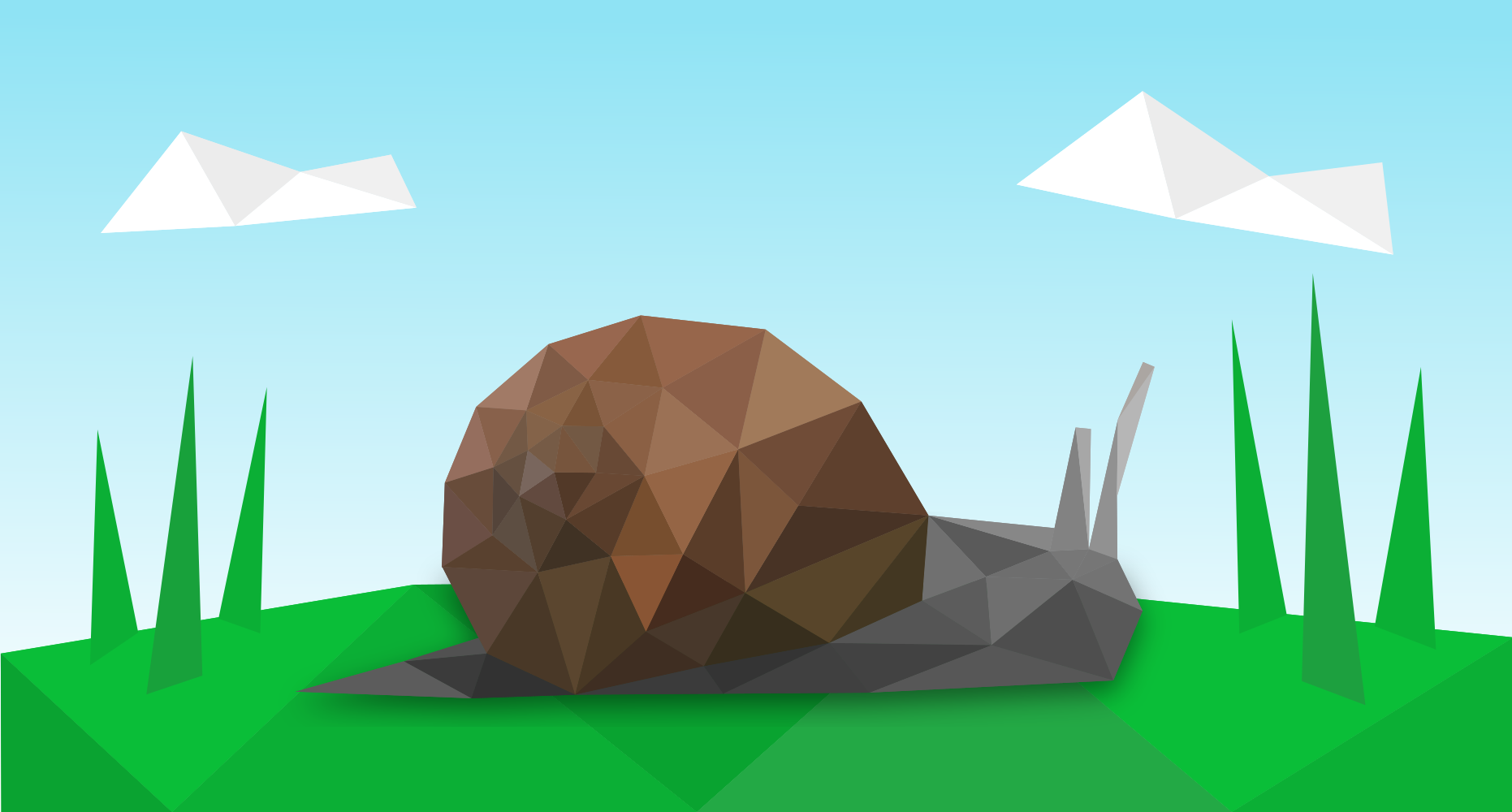 A low poly snail in low poly grass