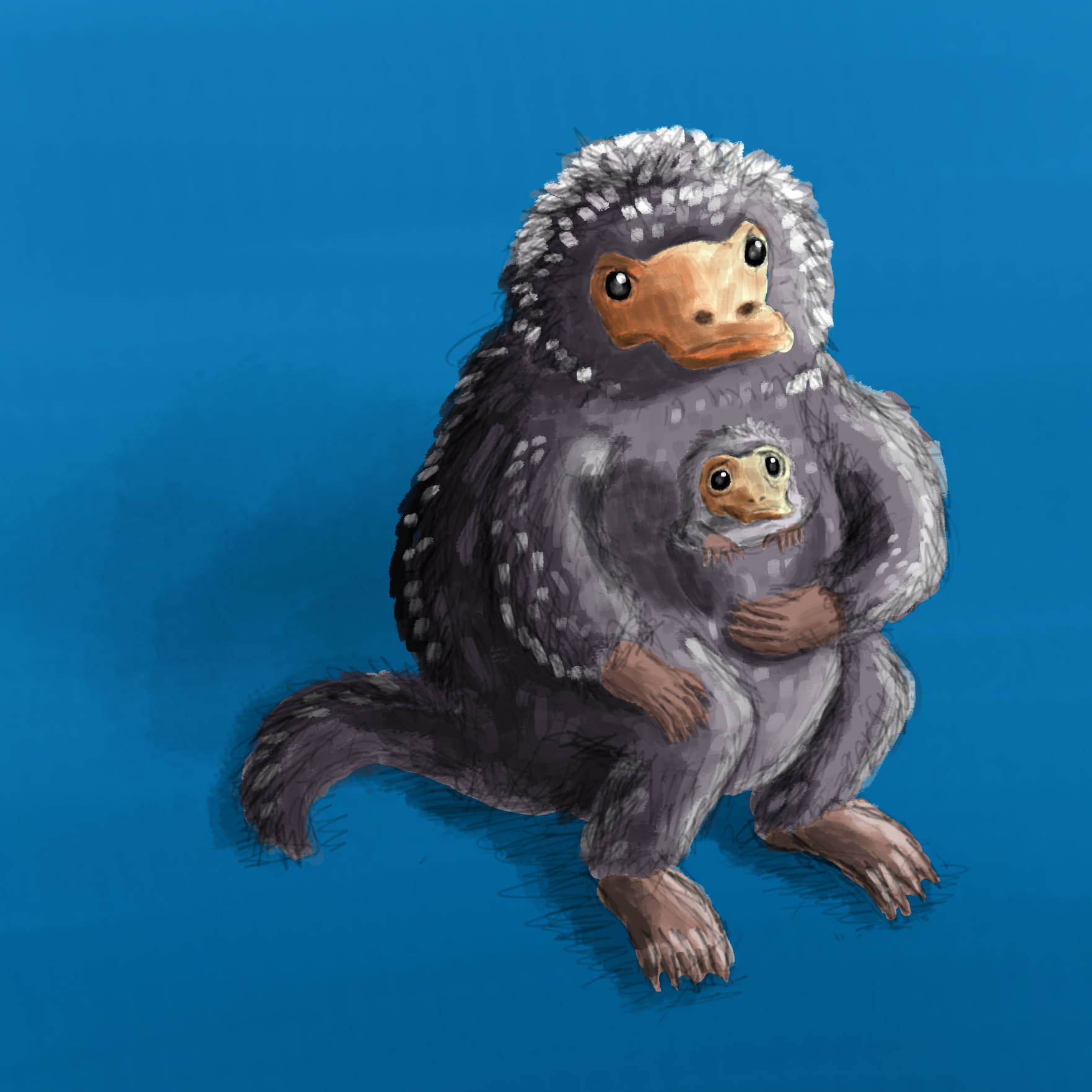 A niffler with a baby niffler in its pocket