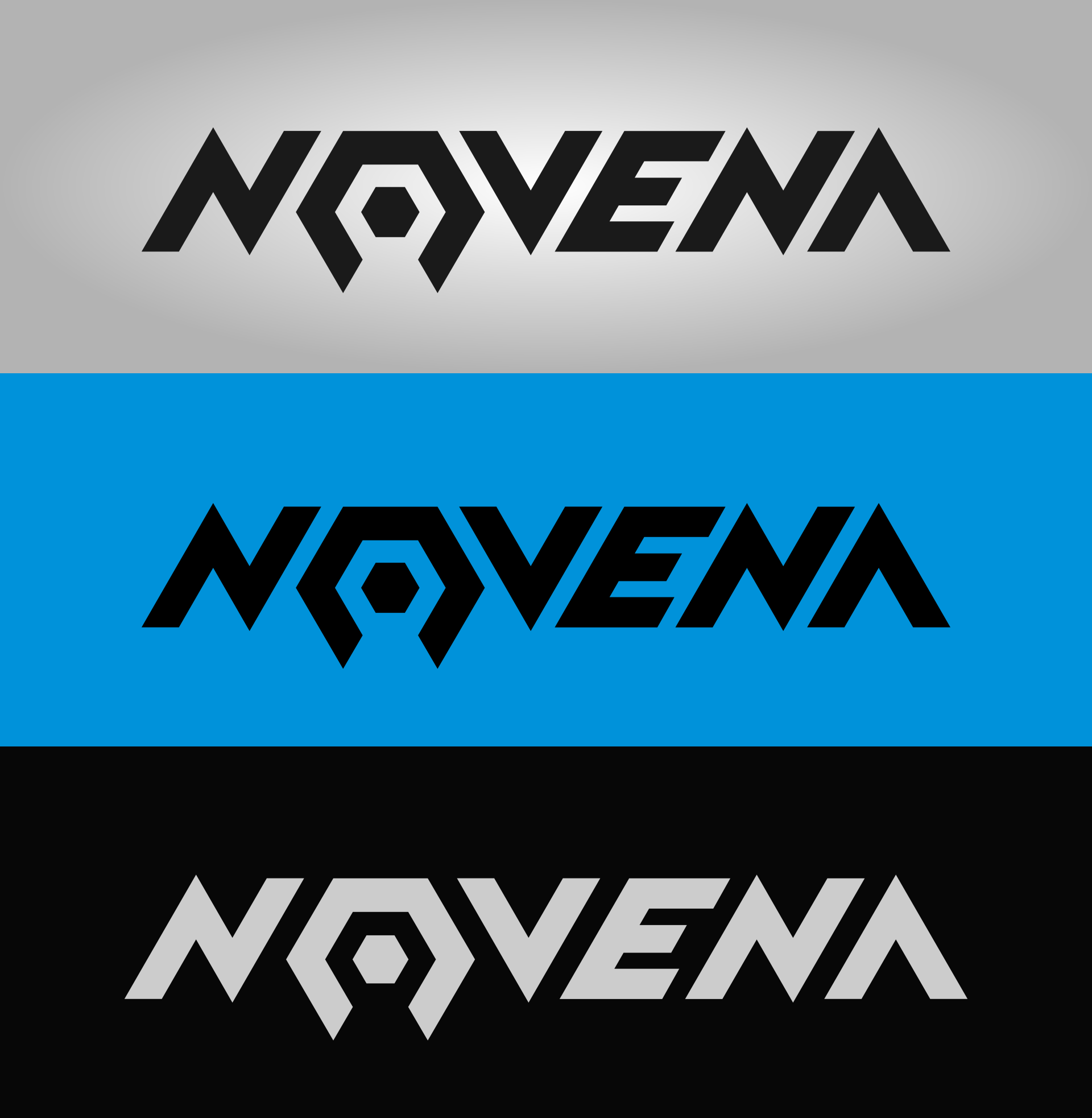 Novena logo on three different backgrounds