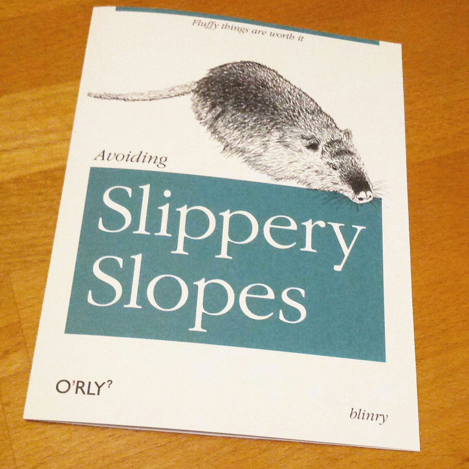 Avoiding Slippery Slopes as an O'Reilly book